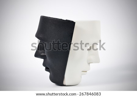 Black and white masks like human behavior, conception - stock photo