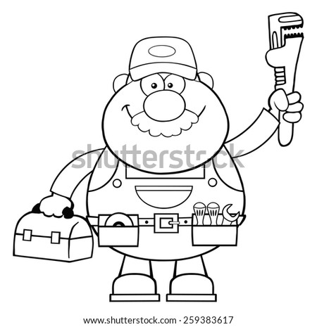 Black And White Mechanic Cartoon Character With Wrench And Tool Box. Raster Illustration Isolated On White - stock photo
