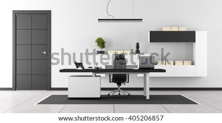 Black and white modern office with closed door and wall unit on wall - 3d rendering - stock photo