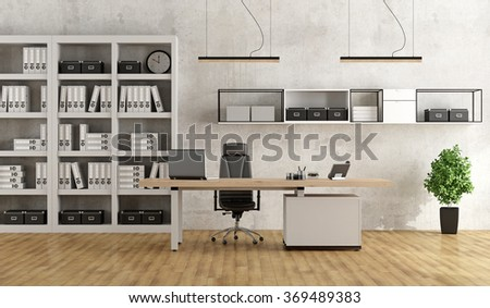 Black and white modern office with desk and bookcase - 3D Rendering - stock photo