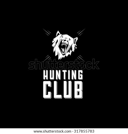 Black and white monochrome emblem, symbol, logotype, sign, badge, sticker, poster of a bear, dog, wolf. - stock photo