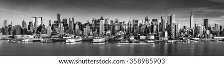 Black and white New York City panorama - stock photo