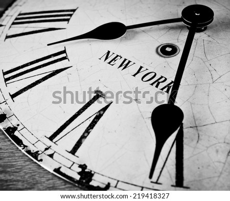 Black and white New York clock - stock photo