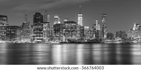 Black and white New York panorama at night, USA. - stock photo