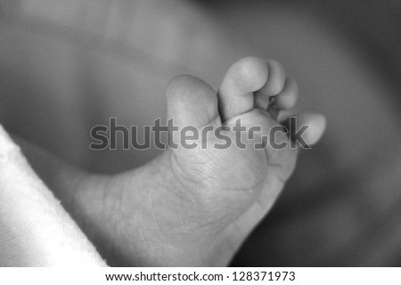 black and white newborn's feet - stock photo