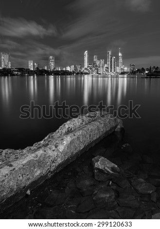 Black and White Night View of the Iconic Gold Coast City Skyline Along the Canal, Surfers Paradise, Queensland, Australia - stock photo