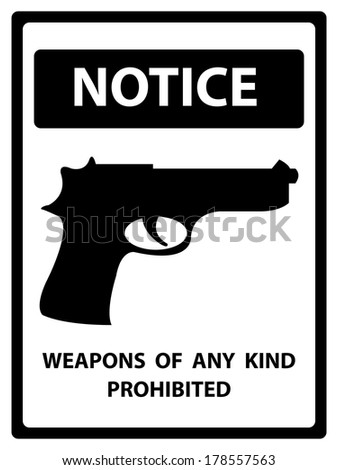 Black and White Notice Plate For Safety Present By Weapons of Any Kind Prohibited With Gun Sign Isolated on White Background  - stock photo