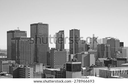 Black and white of downtown Montreal, Canada - stock photo