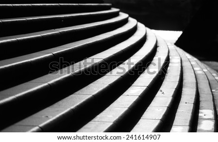 Black and white of modern curved urban stairs stock photo
