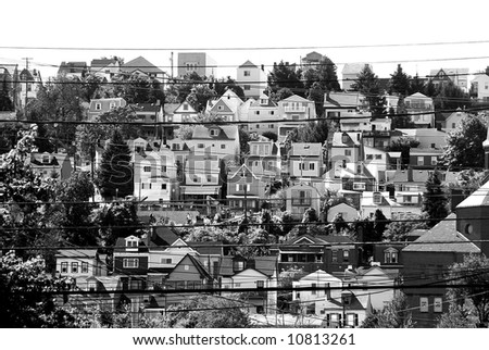 black and white of urban dwelling - rows of houses - stock photo