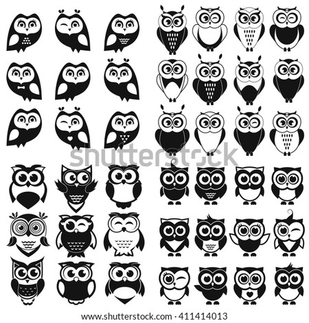 Black and white owl and owlet set. Raster version - stock photo