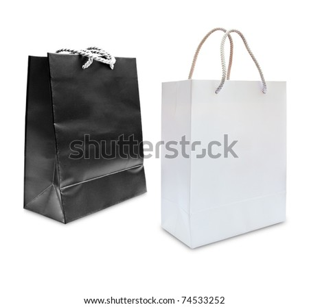black and white paper shopping bag isolated - stock photo