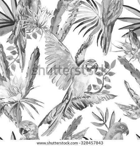 Black and white parrots and exotic flowers. Macaw seamless pattern. Topical flower,leaves and pitaya.Tropical parrot. Exotic. Dragonfruit. - stock photo