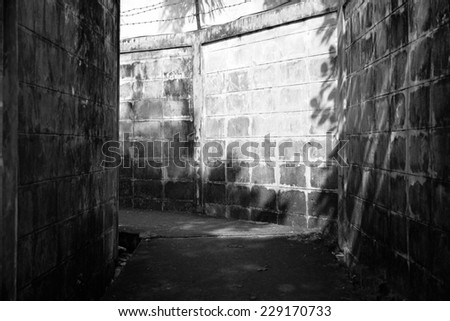 black and white path and light  - stock photo