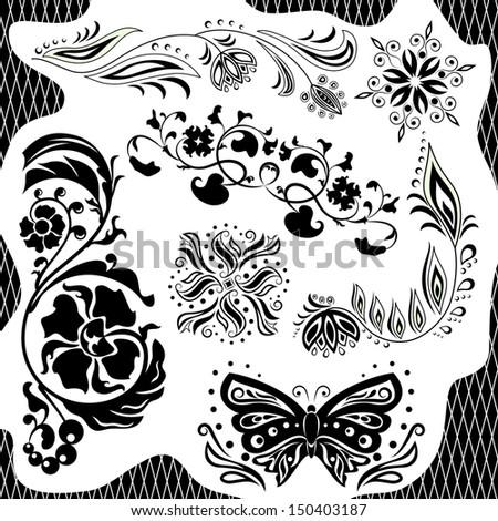 Black and white pattern. Set - stock photo