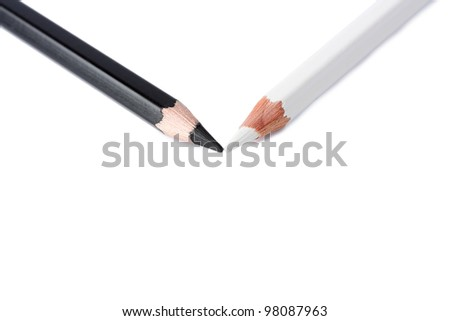 Black and white pencil isolated on white - stock photo