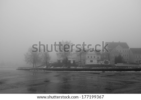 black-and-white photo of Trinity Suburb - stock photo