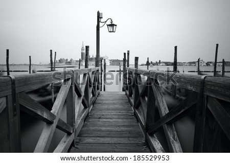 Black and white photo of Venice seafront. Venice, Italy - stock photo