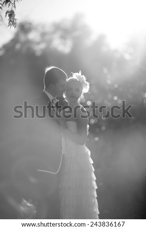 Black and white photo with soft focus. Beautiful young couple bride and groom embracing each other in the sunshine outdoors - stock photo