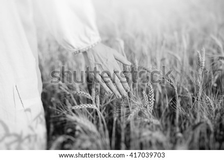 Black and white photography of female hand in ethnic clothes touching wheat stems on field on sunny day  - stock photo