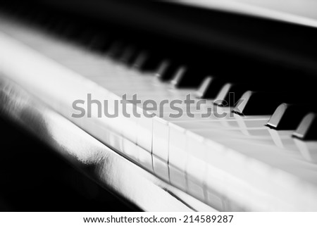 black and white piano keys - stock photo