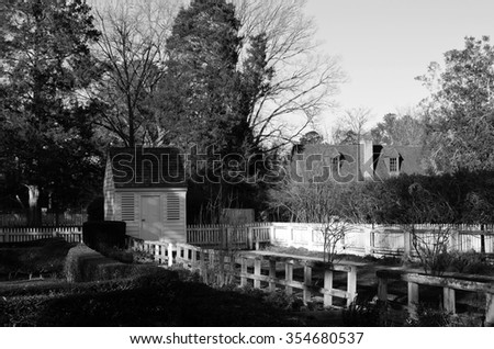 Black and white picture of a garden in Williamsburg colonial town in Virginia in the United States of America - stock photo