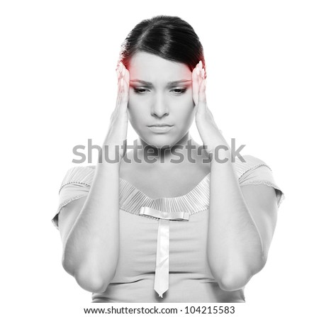 black-and-white picture of young woman have a headache. isolated on white background - stock photo