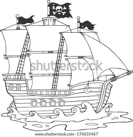 Black And White Pirate Ship Sailing Under Jolly Roger Flag. Raster Illustration - stock photo