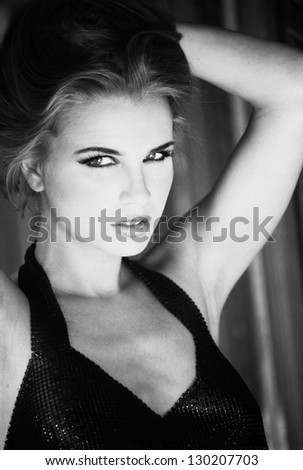 Black and white portrait - stock photo