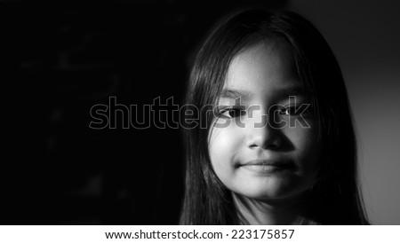 black and white portrait asian girl - stock photo