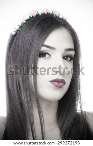 Black and white portrait of a beautiful young woman with purple lips and blue eyes - stock photo