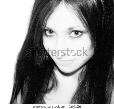 Black and white portrait of young gothic teen - stock photo