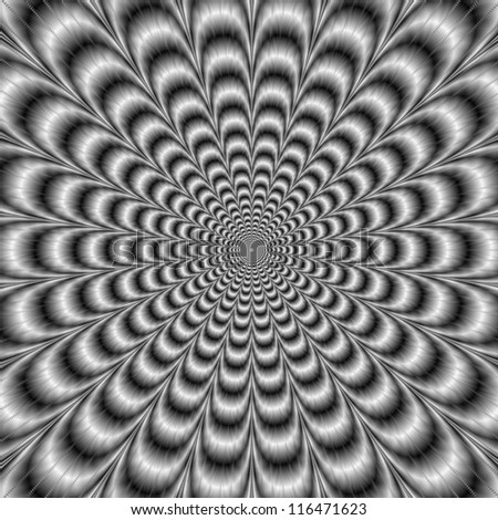 Black and White Pulse/Digital abstract image with a psychedelic design producing the illusion of movement in black and white. - stock photo
