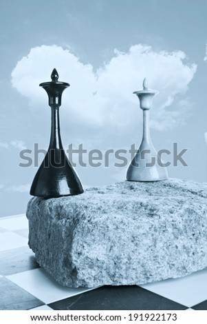 Black and white queens on a background of cloud as a heart - stock photo
