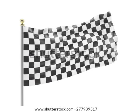 Black and white racing flag isolated on a white background. 3d illustration High resolution - stock photo