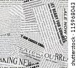 Black and white repeating torn newspaper background. Continuous pattern left, right, up and down - stock photo