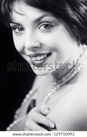 Black and white retro portrait of beautiful woman - stock photo