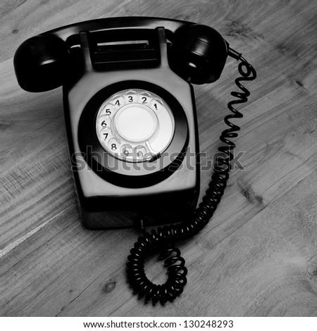 Black and white retro telephone - stock photo