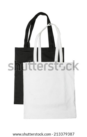 Black and white reusable tote isolated on white background - stock photo