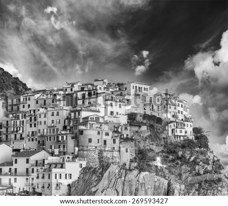 Black and white scenic view of Cinque Terre. Five Lands, Italy. - stock photo