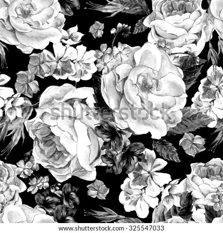 Black and white seamless pattern with Floral Bouquet of Roses, White Daisy and Blue Wild Flowers in Vintage Style, Greeting Card, watercolor illustration. - stock photo
