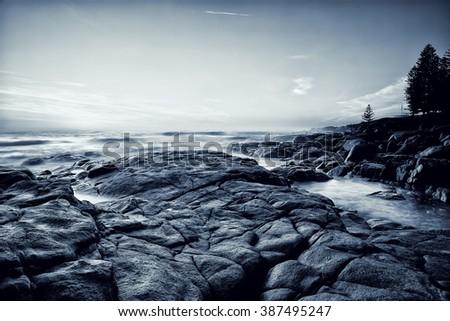 Black and white seascape - stock photo