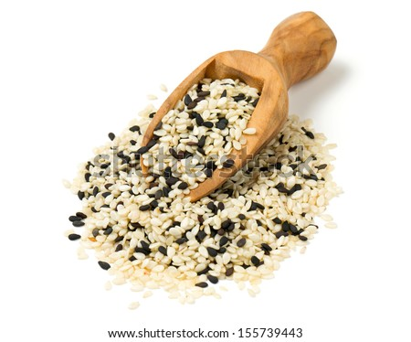 black and white sesame seeds isolated on white background - stock photo