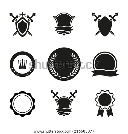 Black and White Shield Crowns and Emblems Icons. Used for Logos and Other Graphic Design. - stock photo