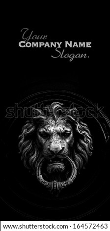 Black and white shot of  a classic door knocker in the shape of a lion - stock photo