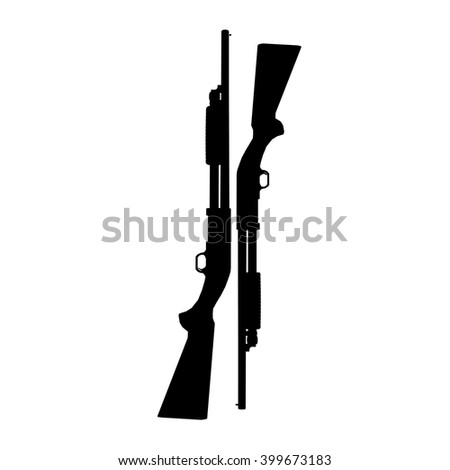black and white shotguns illustration - stock photo