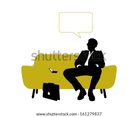 black and white silhouette of a young handsome businessman seated on yellow sofa having rest and thinking about his business, a vacant text bubble above him - stock photo