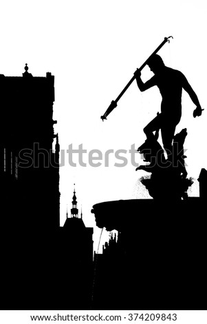 Black-and-white silhouette of Neptune Fountain in Gdansk  - stock photo