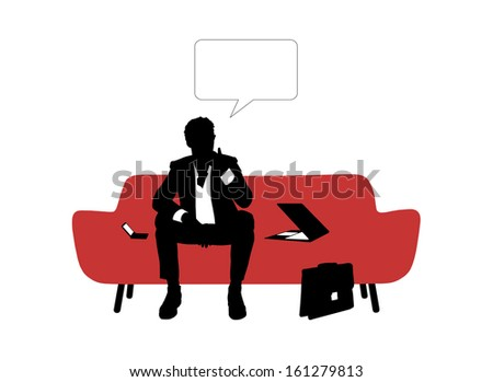black and white silhouette of young nervous businessman seated on red sofa and trying to find a solution about his business, a vacant text bubbles above him - stock photo