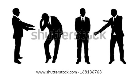 black and white silhouettes of a businessman standing in different postures, face and profile views - stock photo